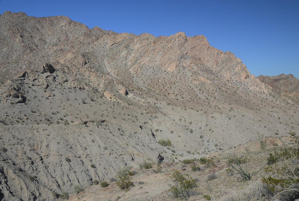 Desert varnish on Santa Rosa Mountains in La Quinta Cove