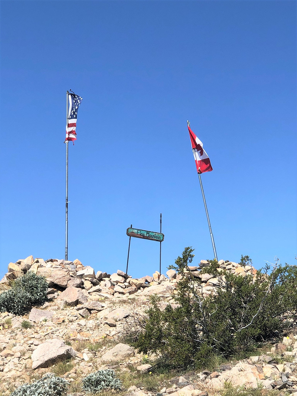 Flag Hill  on the Chocolate Drop Trail in foothills of Little San Bernardino Mountains