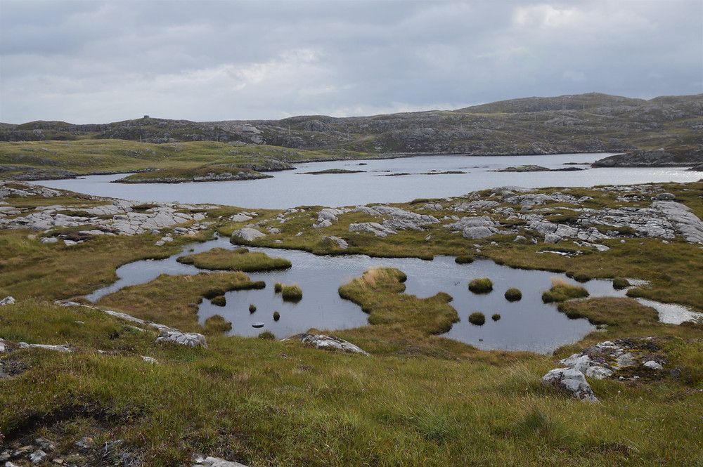 Inland lochans and bogs on Great Bernera Loop hike on the NW coast of Isle of Lewis, Outer Hebrides