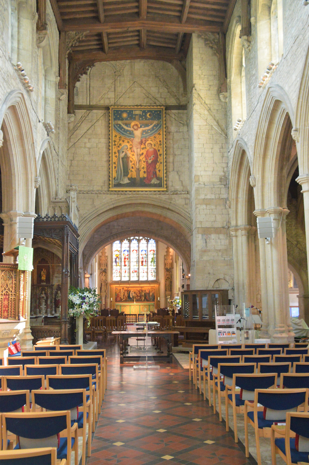 Nave of Burford Church dates back to 1170.  Burford of the Cotswolds