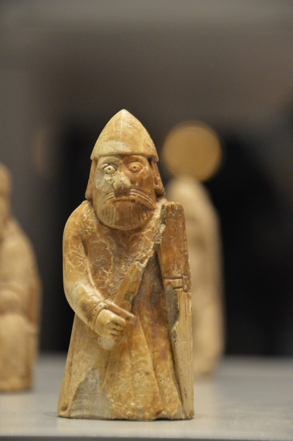 On display in the British Museum the Lewis Chessmen Rook standing soldiers or 'warders' holding shields and swords