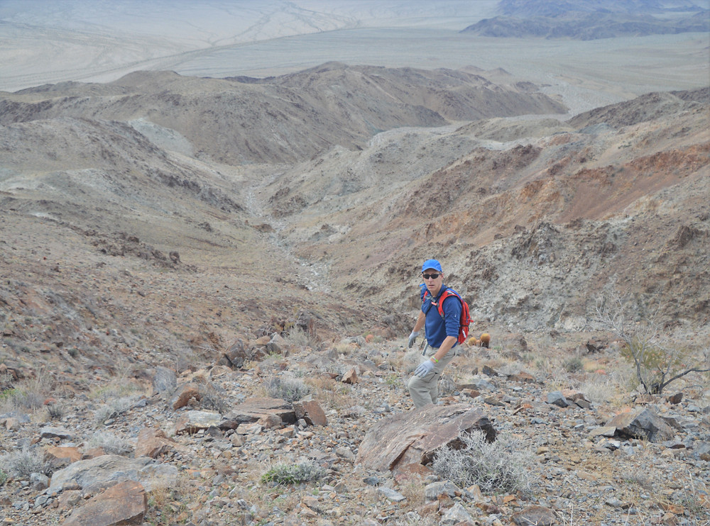Steep scree covered path leading from summit of Pinto Mountains in Joshua Tree National Park