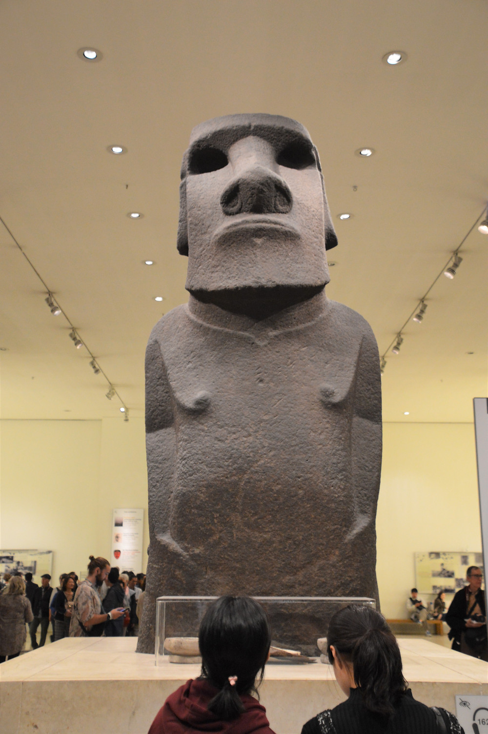 On display in The British Museum Hoa Hakananai'a a moai statue carved by the Rapa Nui people of Easter Island between the years 1250 and 1500