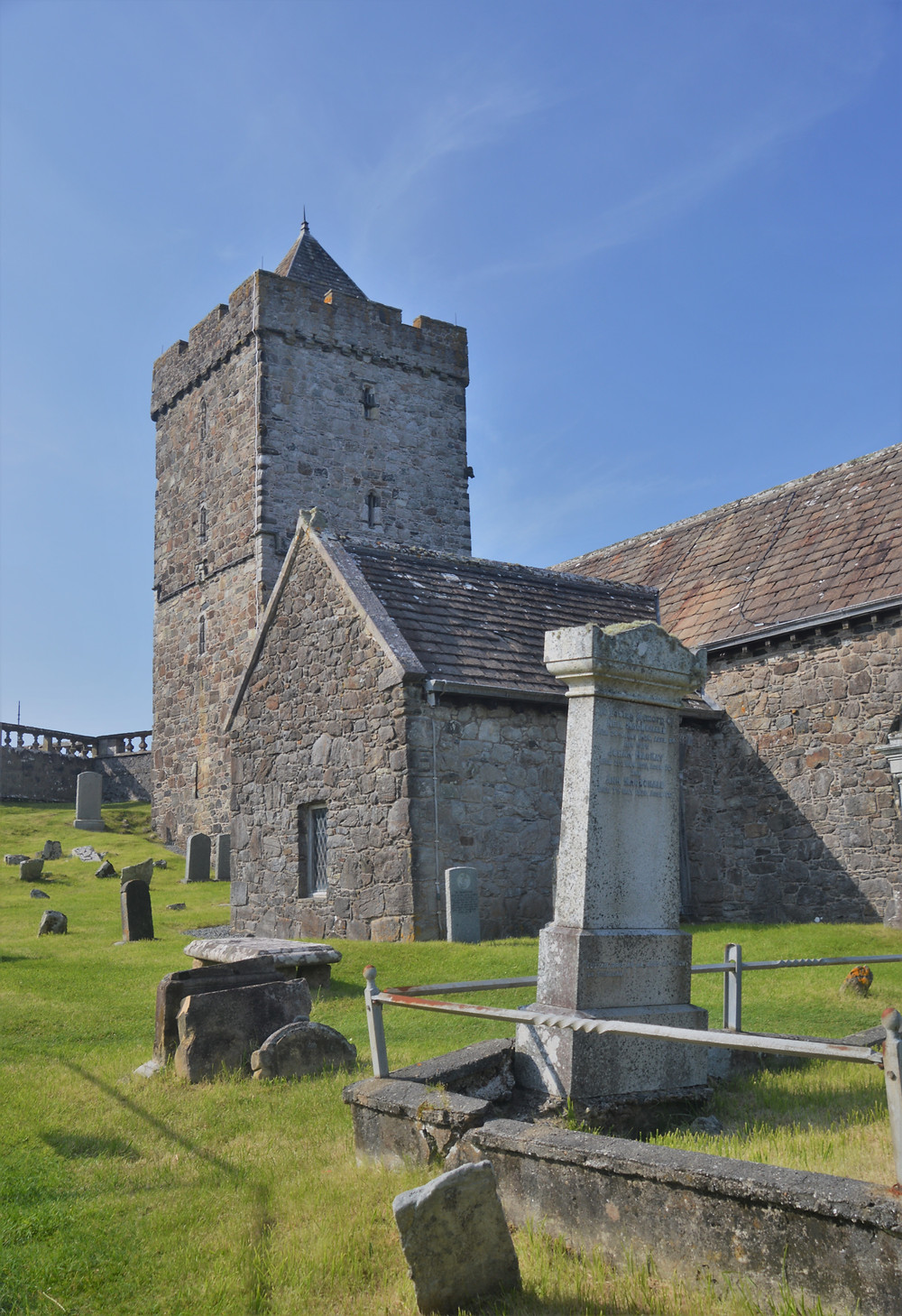 Cemetery on the grounds of St. Clement's Church in the village of Rodel on Lewis and Harris in the Outer Hebrides