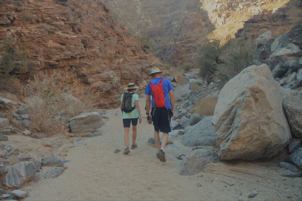 Hiking Carrizzo Canyon wash in the Santa Rosa Mountains in Palm Desert CA