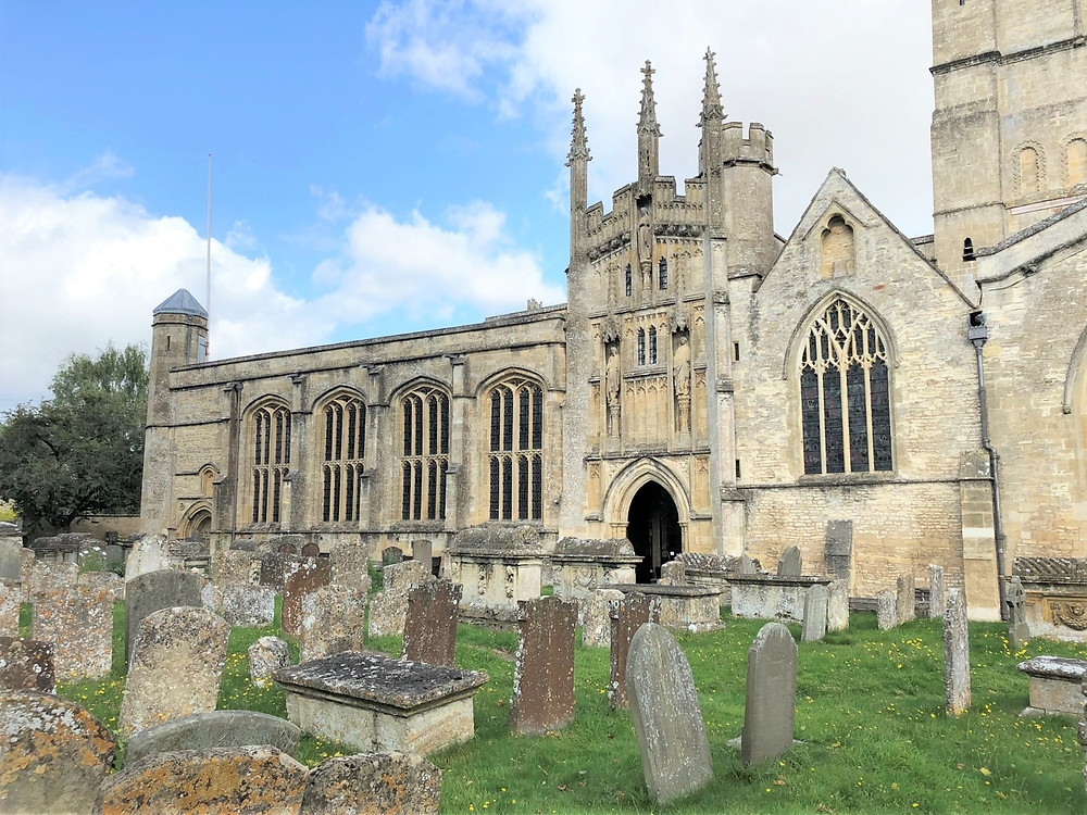 Cemetery on the ground of Burford Church or St. John the Baptist Church in Burford of the Cotswolds