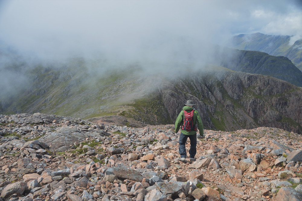 Hiking from the summit of Stob Dearg on Buachaille Etive Mòr back to the top of the Coire na Tulaich