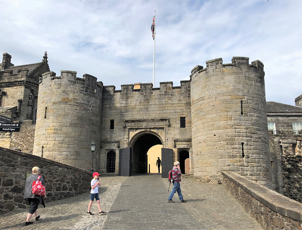 Stirling Castle main south entrance includes the Forework built by James IV in early 1500s