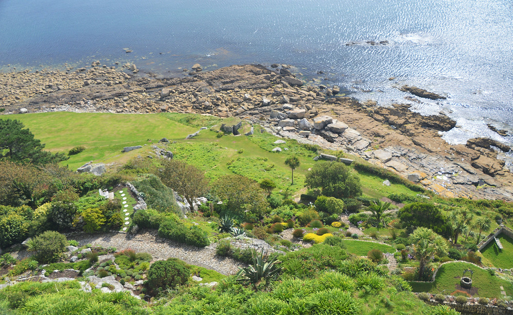 The formal gardens along the beach at St Michael's Mount castle