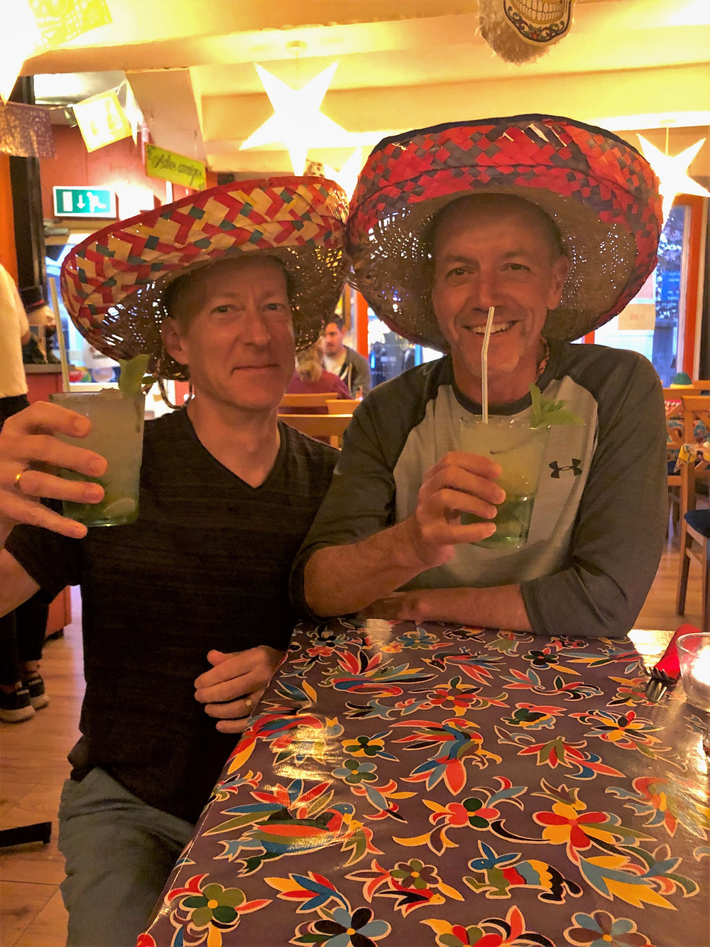 Drinking mojitos at Mexican restaurant in Brighton, England