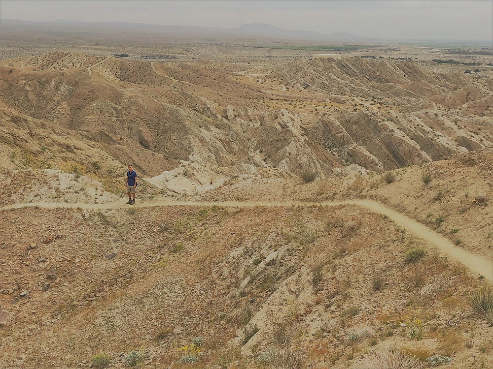 Hiking along the ridge on the Indio Hills Badlands Trail.