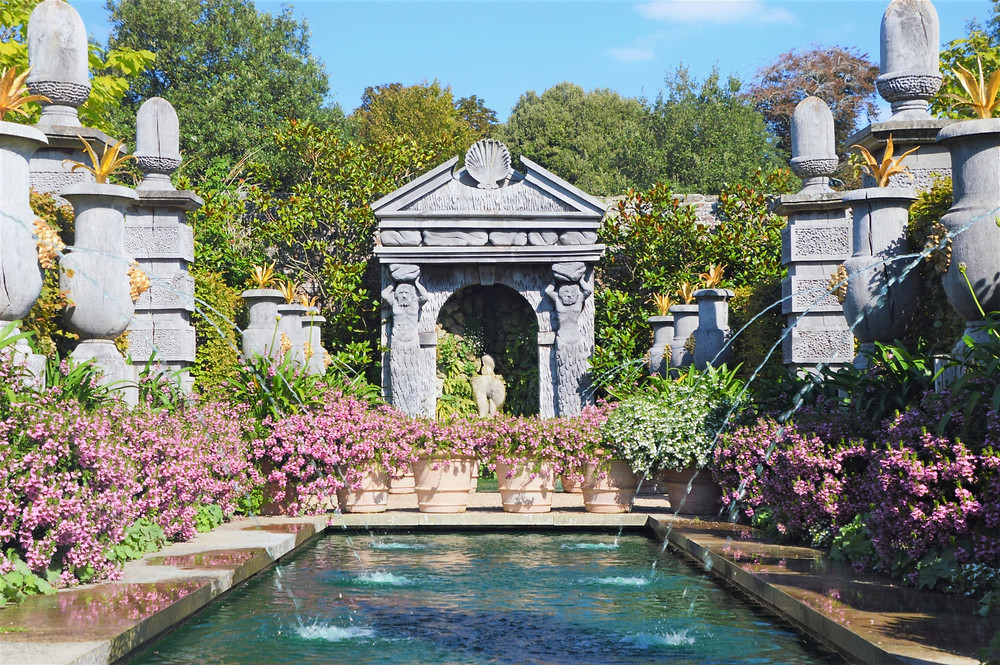 Beautiful gardens an fountains on Arundel Castle grounds