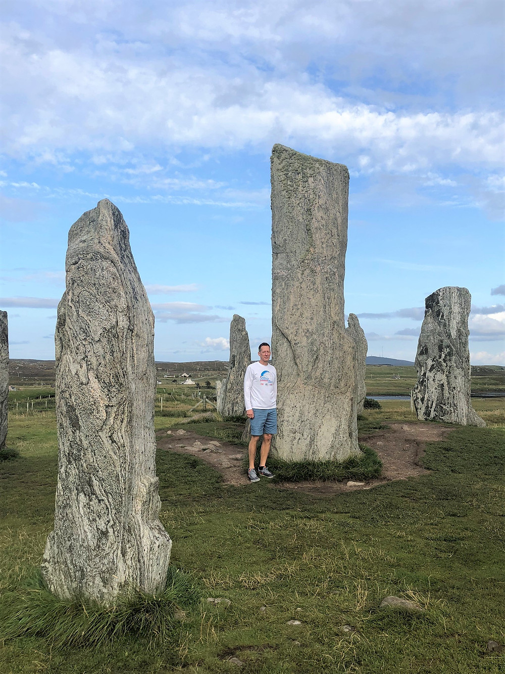 16 foot central monolith near the center of the Standing Stones of Callanish erected over 5000 years ago on Lewis and Harris in the Outer Hebrides