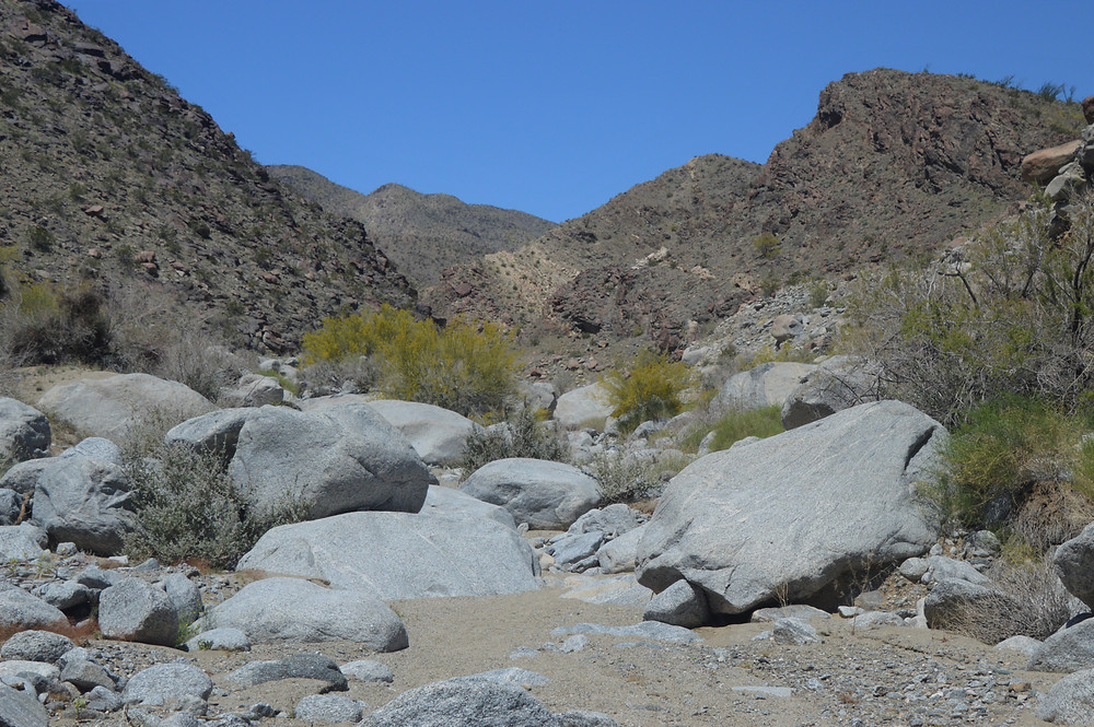 Rocky boulders blanket the opening to Lost Canyon in Santa Rosa Mountains