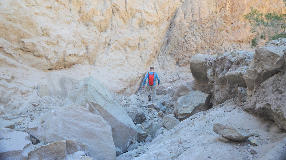 Rock slide on Coffee Bean or Red Canyon trail in the Mecca Hills