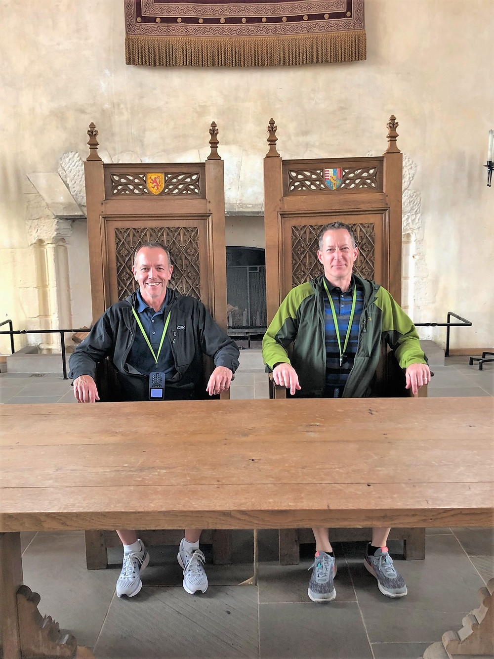 The royal thrones at the head of the table in the Great Hall in Stirling Castle