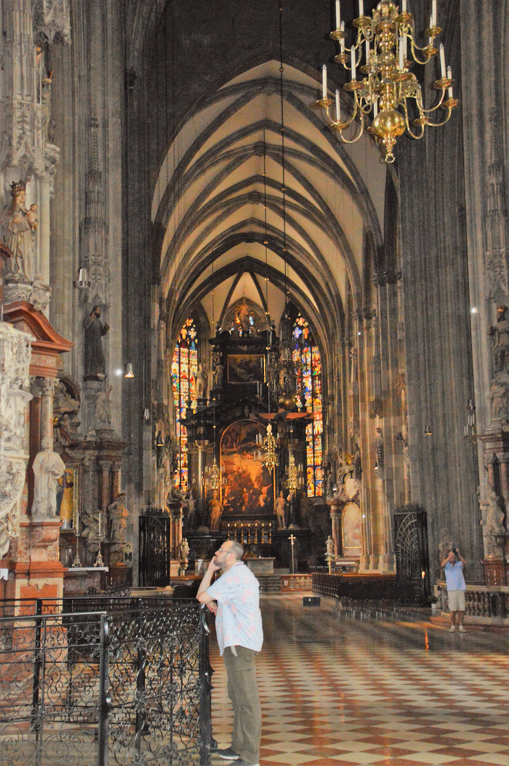 The immense nave of St Stephen's Cathedral in Vienna