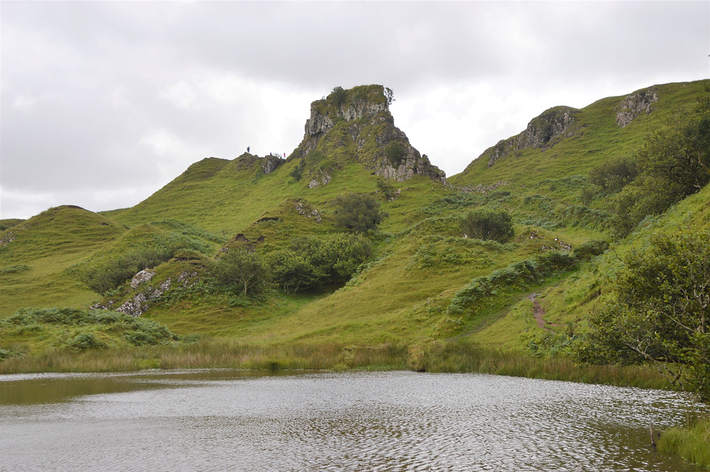 A square-shaped basalt rock formation that resembles a castle ruins in the Fairy Glen on the Isle of Skye