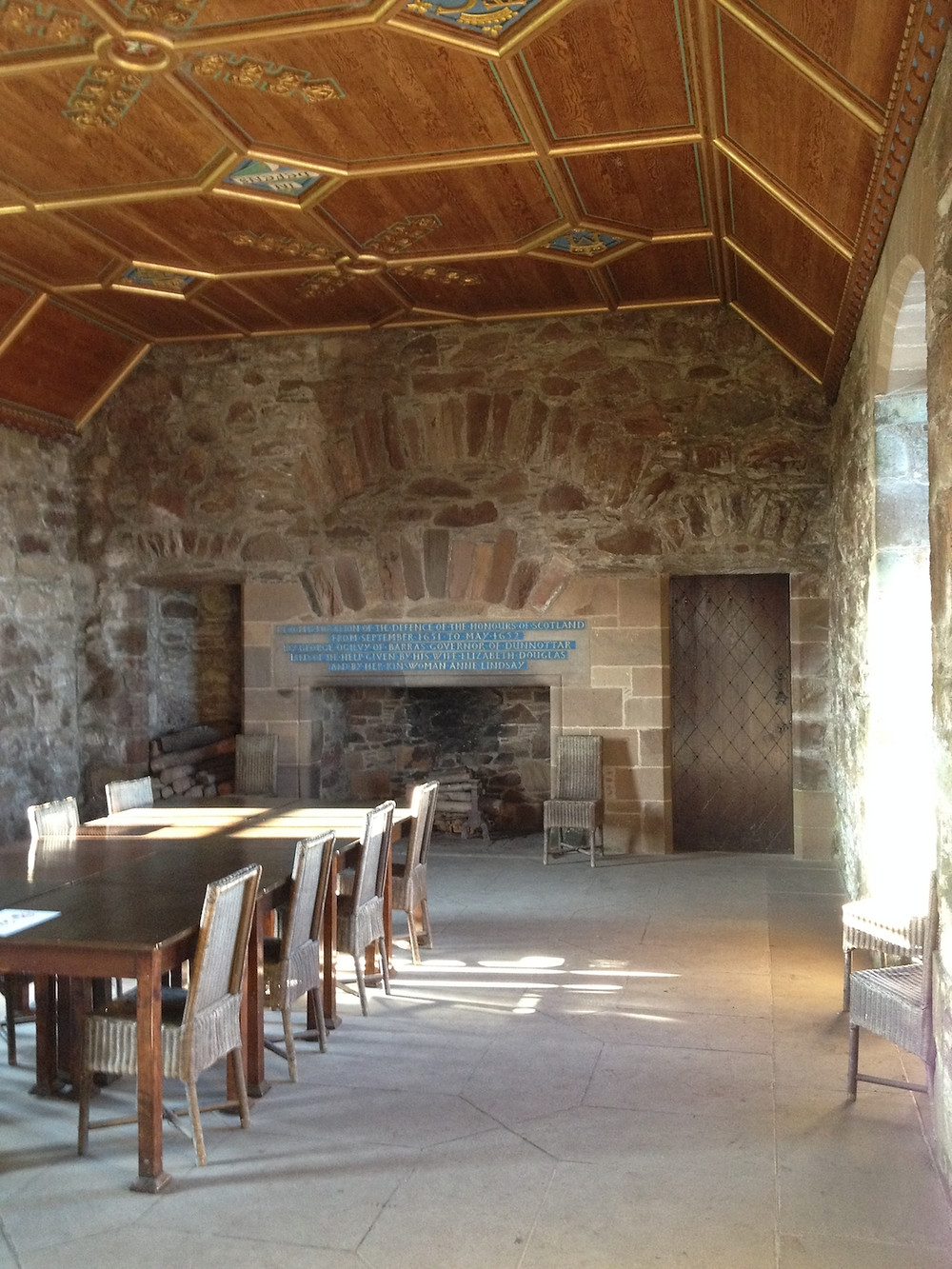 Within the Dunnottar Castle Palace is the Drawing Room with its carved oak ceiling.