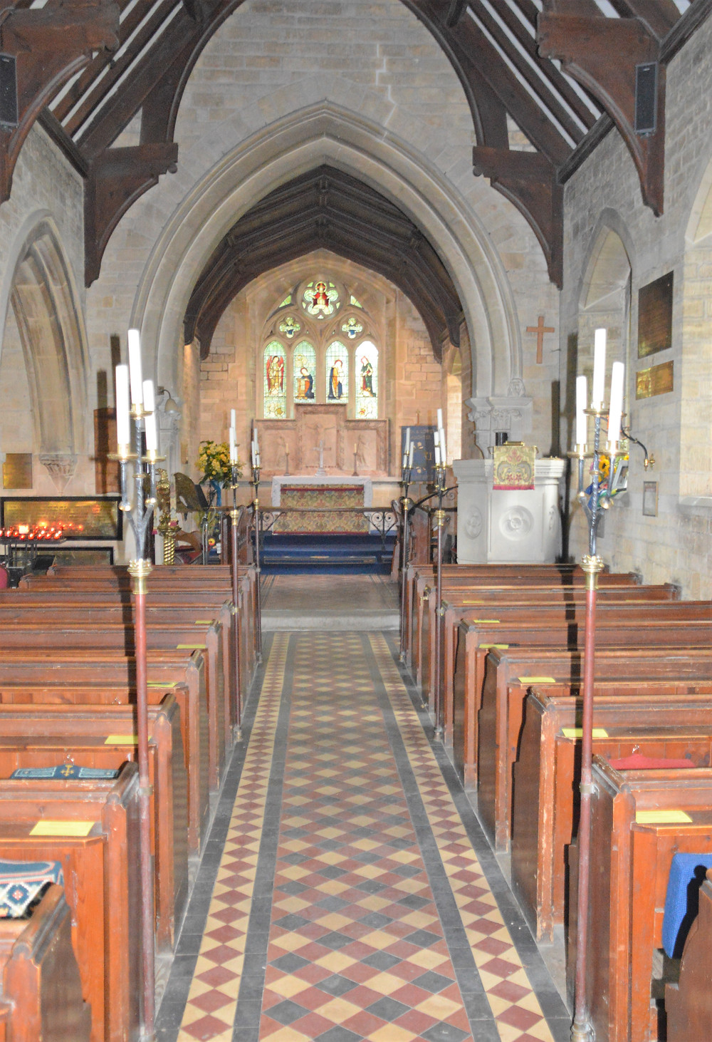 Interior of Church of St. Mary in Lower Slaughter of the Cotswolds