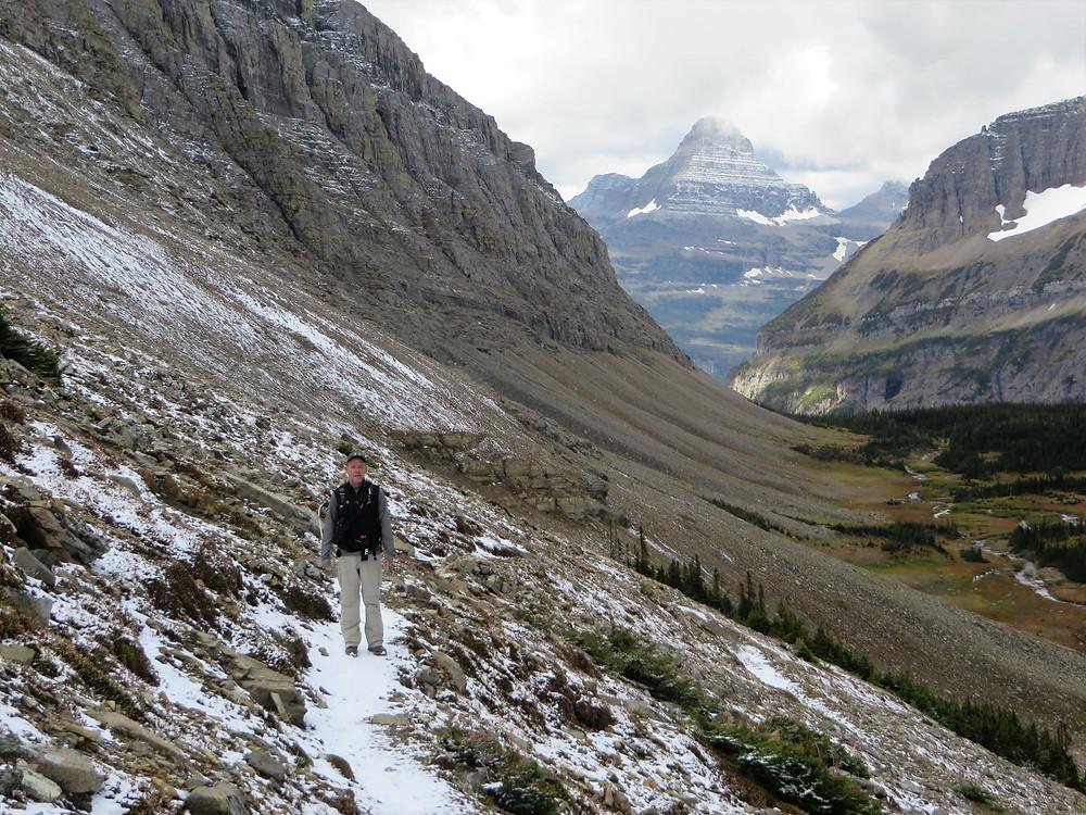 hiking siyeh pass trail, switchbacks