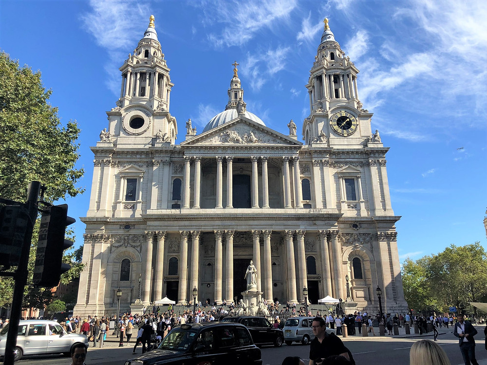 The West Front of St. Paul's Cathedral in London. Two West Towers, holding the 'Big Tom' clock installed in 1893