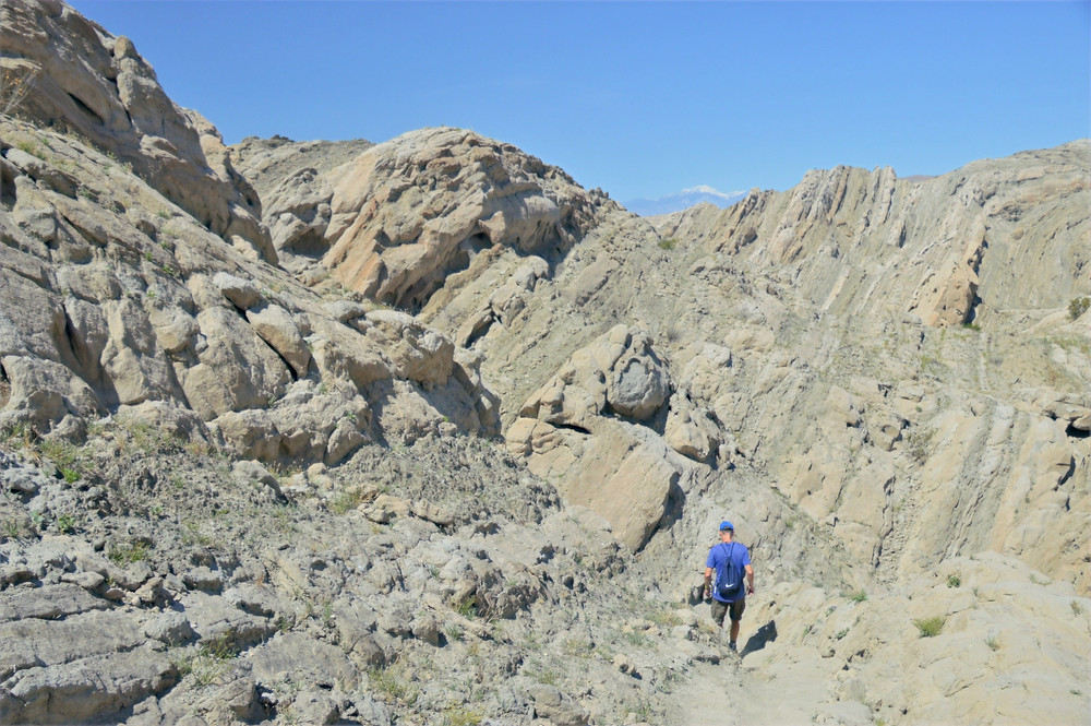 Folded sedimentary rock layers from movement along San Andreas fault network formations