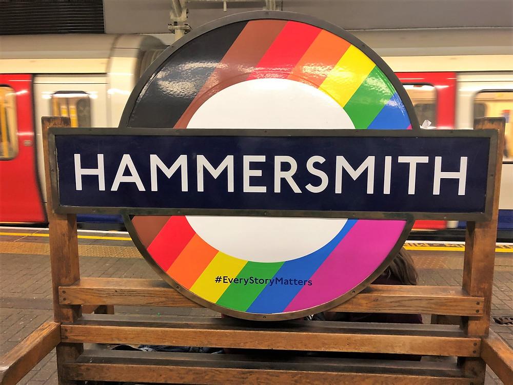 Hammersmith underground tube stop sign