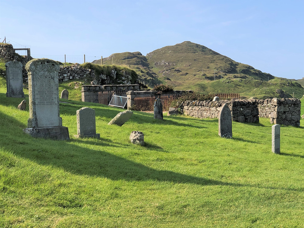 Cemetery headstones on the grounds of St. Clement's Church in the village of Rodel on Lewis and Harris in the Outer Hebrides