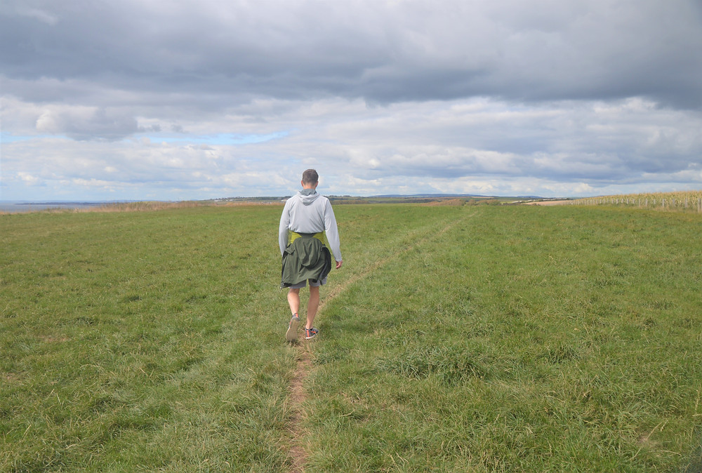 After Dunraven Beach Glamorgan Heritage Coastal Trail in Wales climbs a plateau