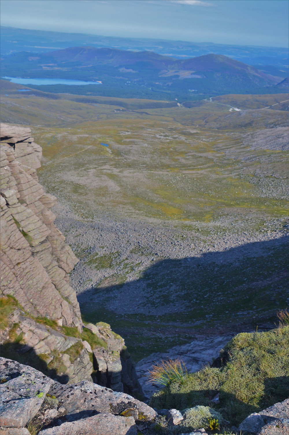 Great scenic view from the ridge trail over the cliffs of Cairn Lochan and into the basin of Coire an Lochain.