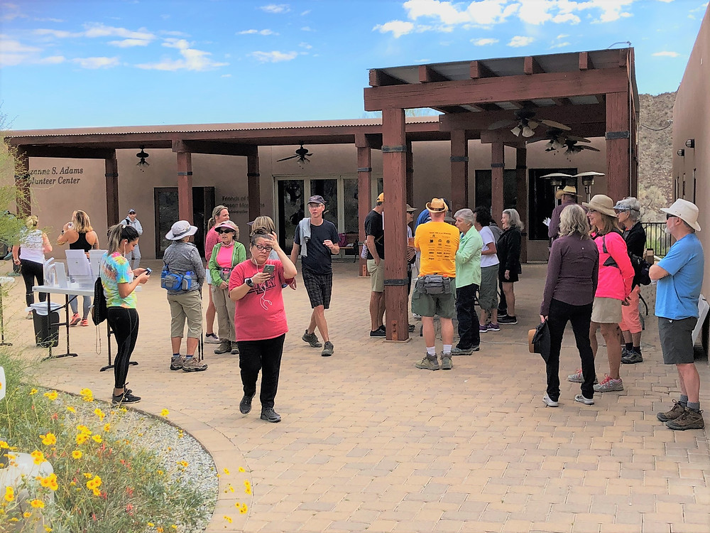 Volunteers for the Wildflower Festival 5k trail run and walk along the Randall Henderson Trail