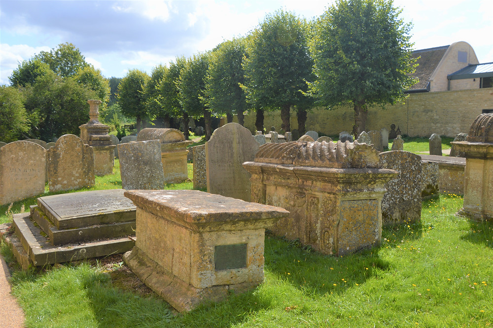 Tombs on the grounds of Burford Church in Burford of the Cotswolds