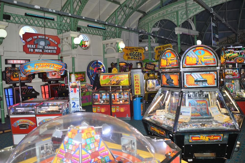 Arcade in the Brighton Palace Pier in Brighton, England
