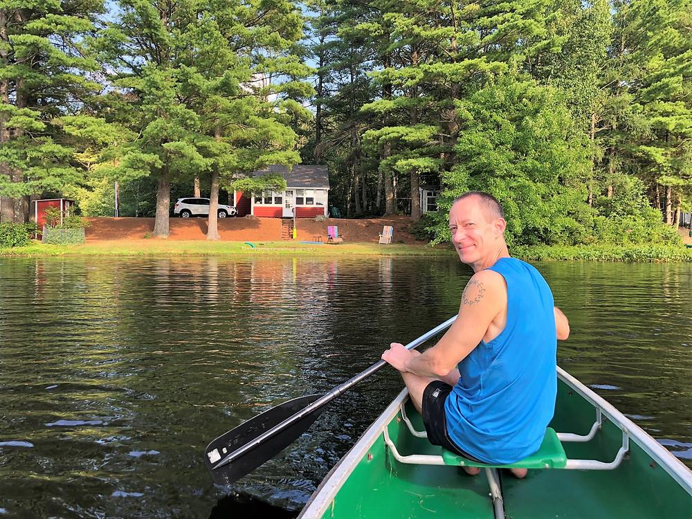 Canoeing on Snake Pond in Gardner, MA