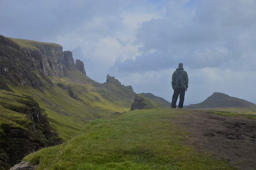 Overlooking Quiraing and the Meall na Suiramach's cliffs.