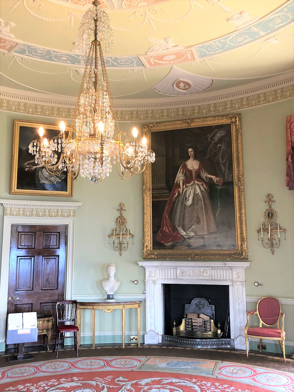 Blue Drawing Room of Culzean Castle in Scotland with the fireplace painting of Susanna Kennedy, Countess of Eglinton, Third Wife of the 9th Earl of Eglinton