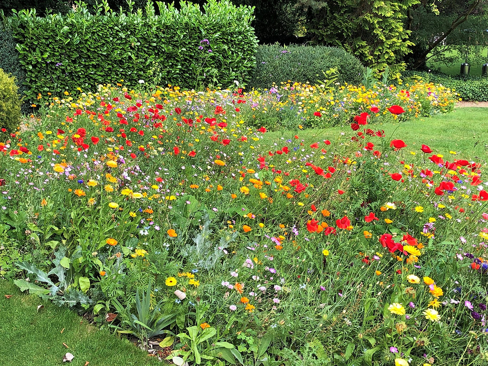 Flower garden at Lord of the Manor estate in Upper Slaughter of the Cotswolds