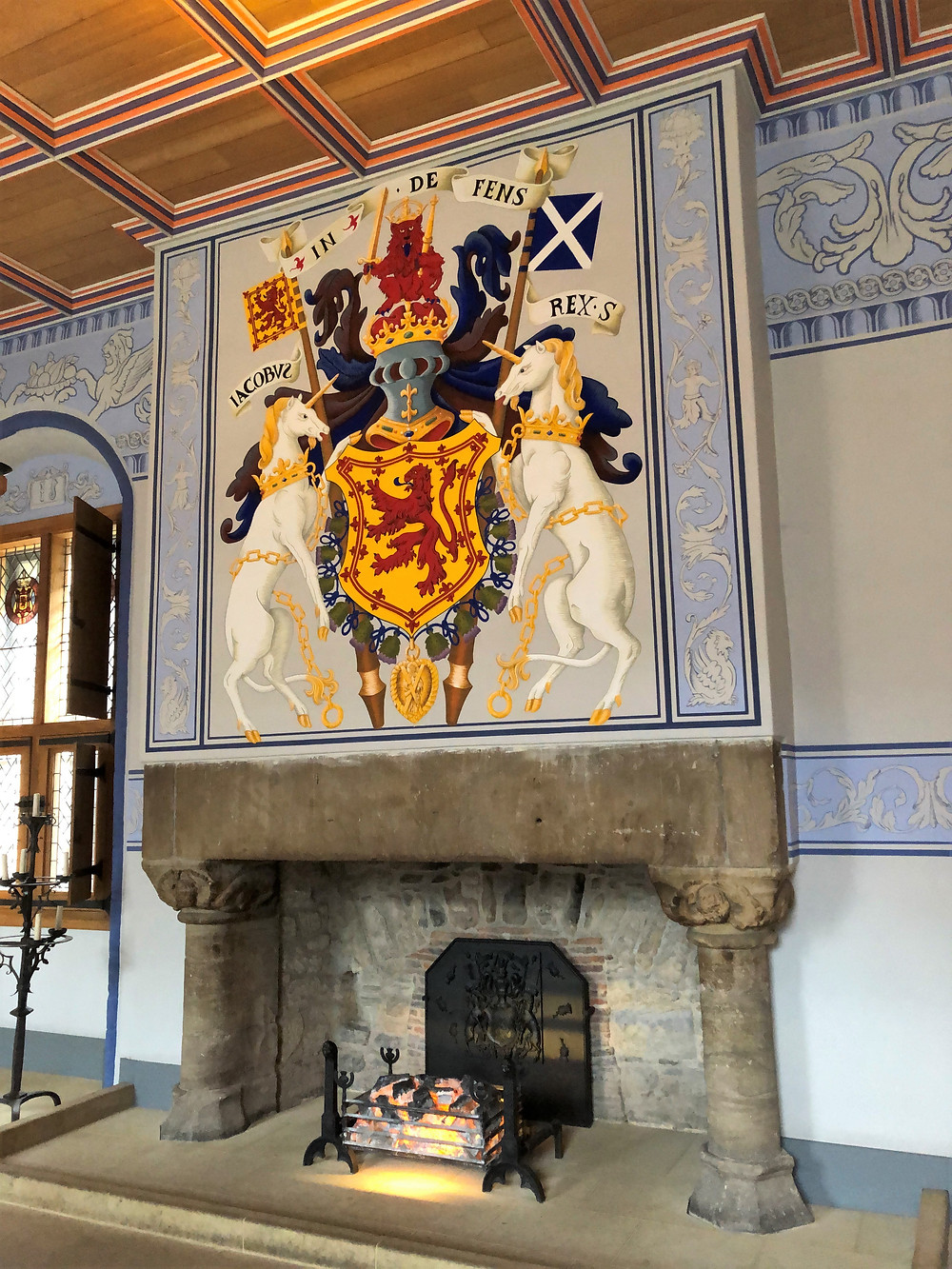 Hanging over the fireplace in the King's Outer Hall of Stirling Castle is the Coat of Arms for the House of Stewart/Stuart.