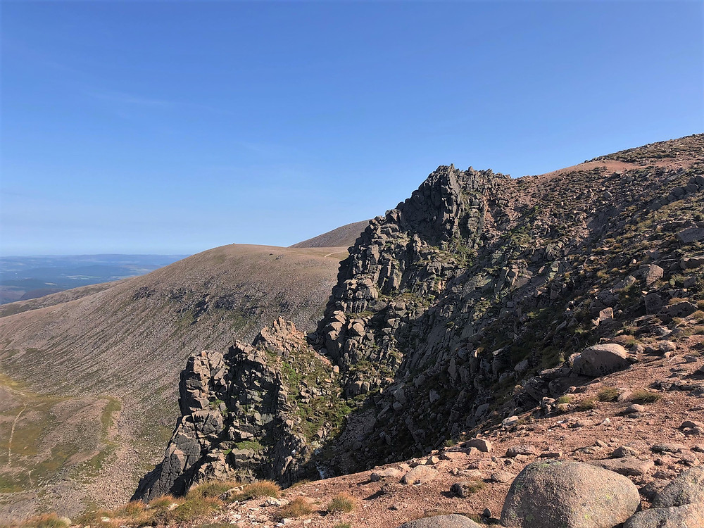 The eastern edge of this impressive corrie with the Cairn Gorm summit our next target