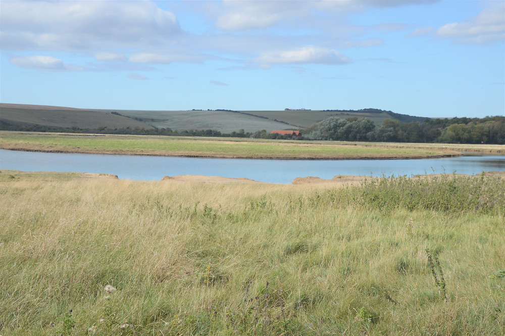 Seven Sister Cliff Walk trail follows the River Cuckmere outside of Seaford, England