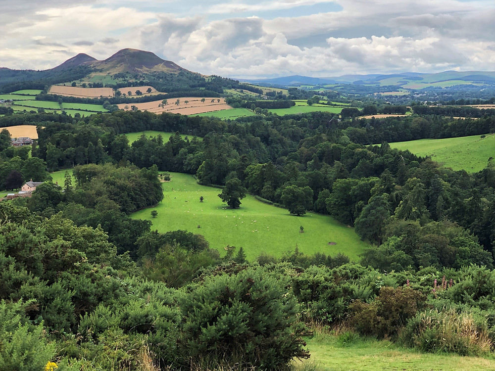 Vista overlooking the River Tweed and Eildon Hills was known as one of Sir Walter Scott's favorite places in Southern Scotland