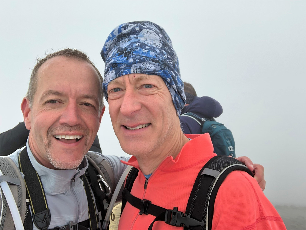 On the Snowdon summit after hiking up the Snowdon Ranger Path