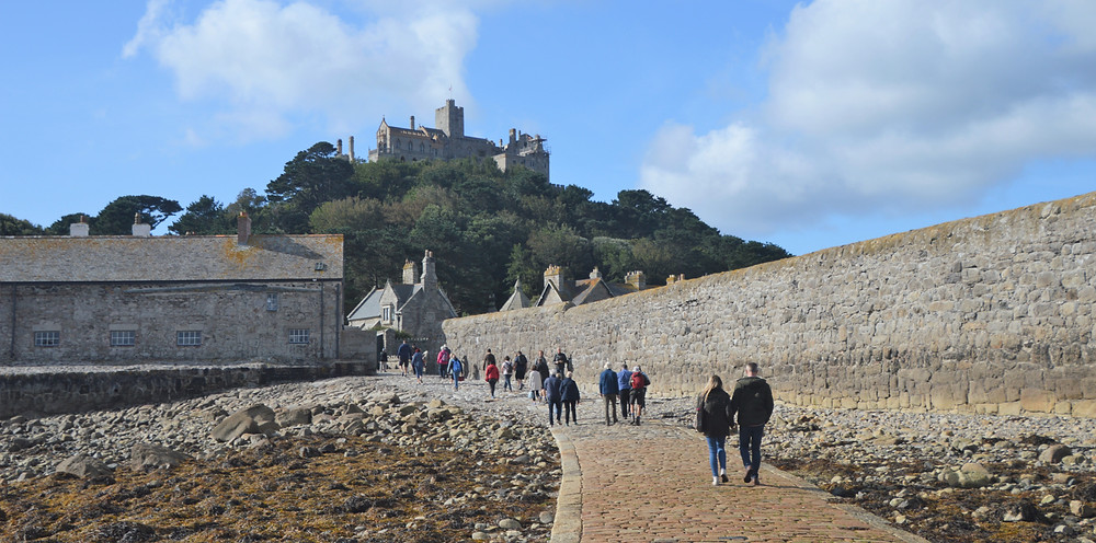 St Michael's Mount causeway from the  beach leads directly into the village