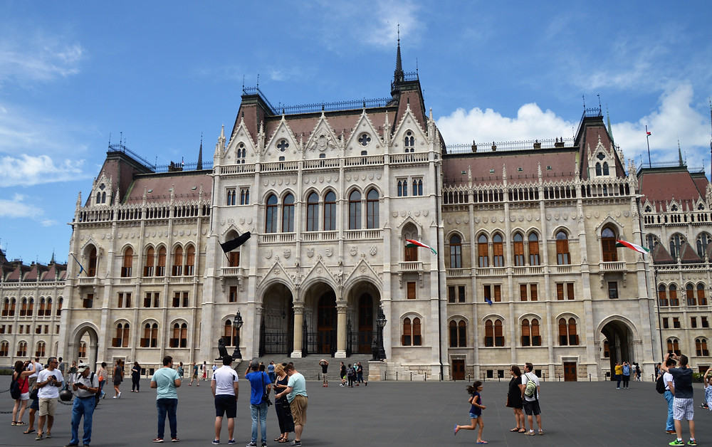 The main entrance of the Hungarian Parliament Building is the largest building in Budapest and the third largest parliament building in the world.
