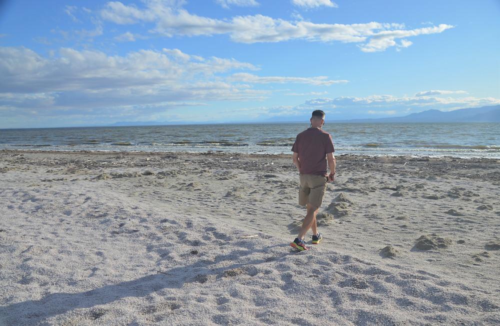 White sand on Salton Sea beach is actually coarse piles of fish bones