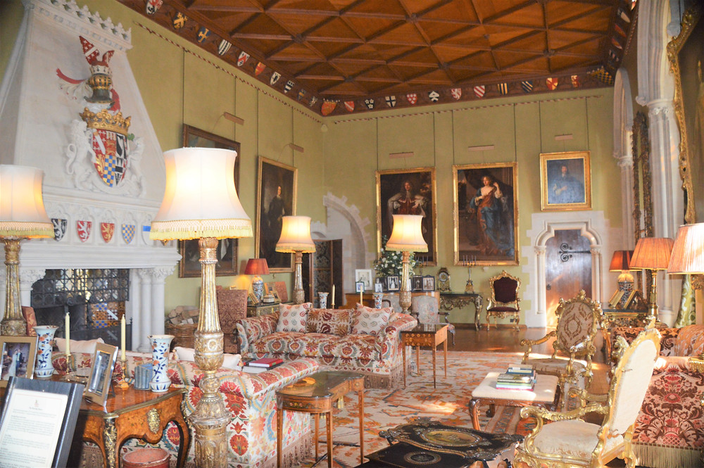 The Drawing Room with the Norfolk crest on the fireplace in Arundel Castle