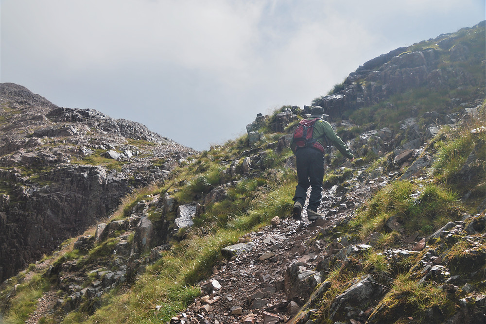 Final section of the steep Coire na Tuliach trail involved climbing a rocky rib to reach the saddle or baelach