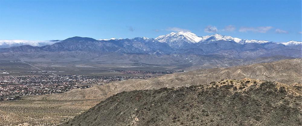 Panorama of San Gorgonio and San Bernardino Mountains from Desert Hot Springs