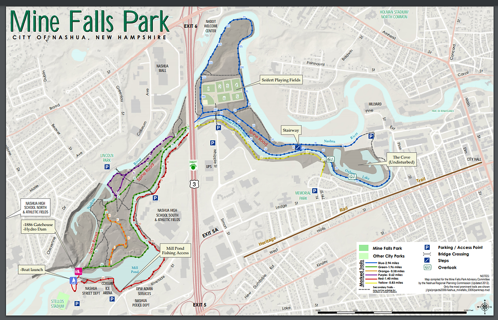 Map of Mine Fall Park in Nashua NH